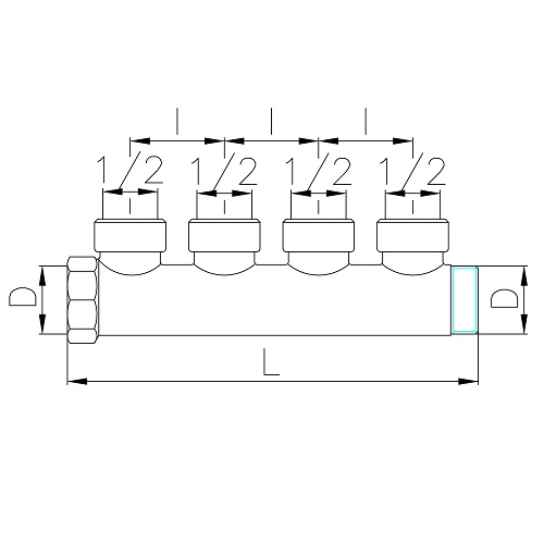 Scheda tecnica - Manifold with 4 female outlets