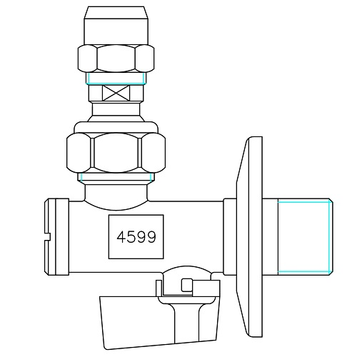 Datasheet - Ball angle valve with filter, articulated joint and long nut