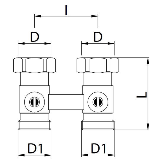 "Datasheet - Straight ""H"" double valve for panels radiators"