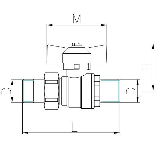 Datasheet - Pipe union, MM full bore ball valve PN 40 with butterfly handle
