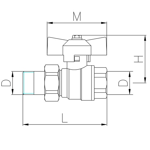 Datasheet - Pipe union, MF full bore ball valve PN 40 with butterfly handle