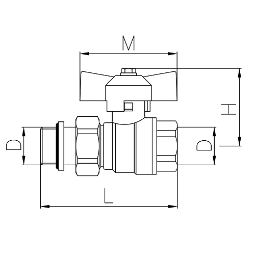 Datasheet - Pipe union and metal ring MF full bore ball valve PN 40 with butterfly handle