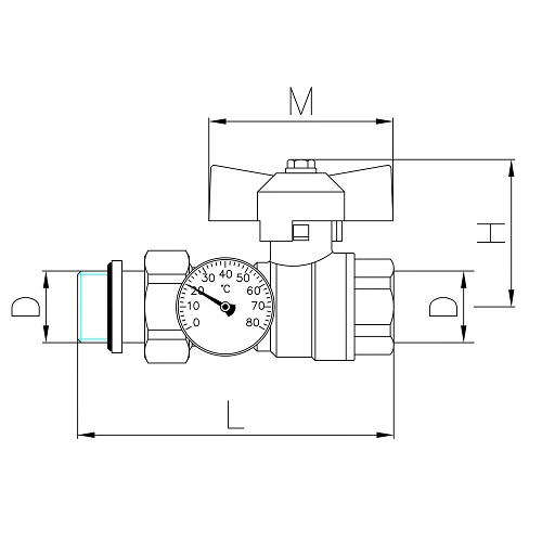 Datasheet - MF brass ball valve PN25 with pipe union and O-ring, thermometer Ø 40mm, range 0 - 80°C, butterfly handle