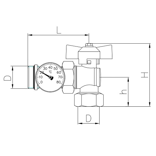 Datasheet - Angle ball valve MF PN25 with pipe union and O-ring, thermometer Ø 40mm, range 0 - 80°C, butterfly handle