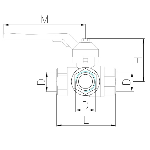 Datasheet - 3 outlets female ball valve PN40, L-handle.