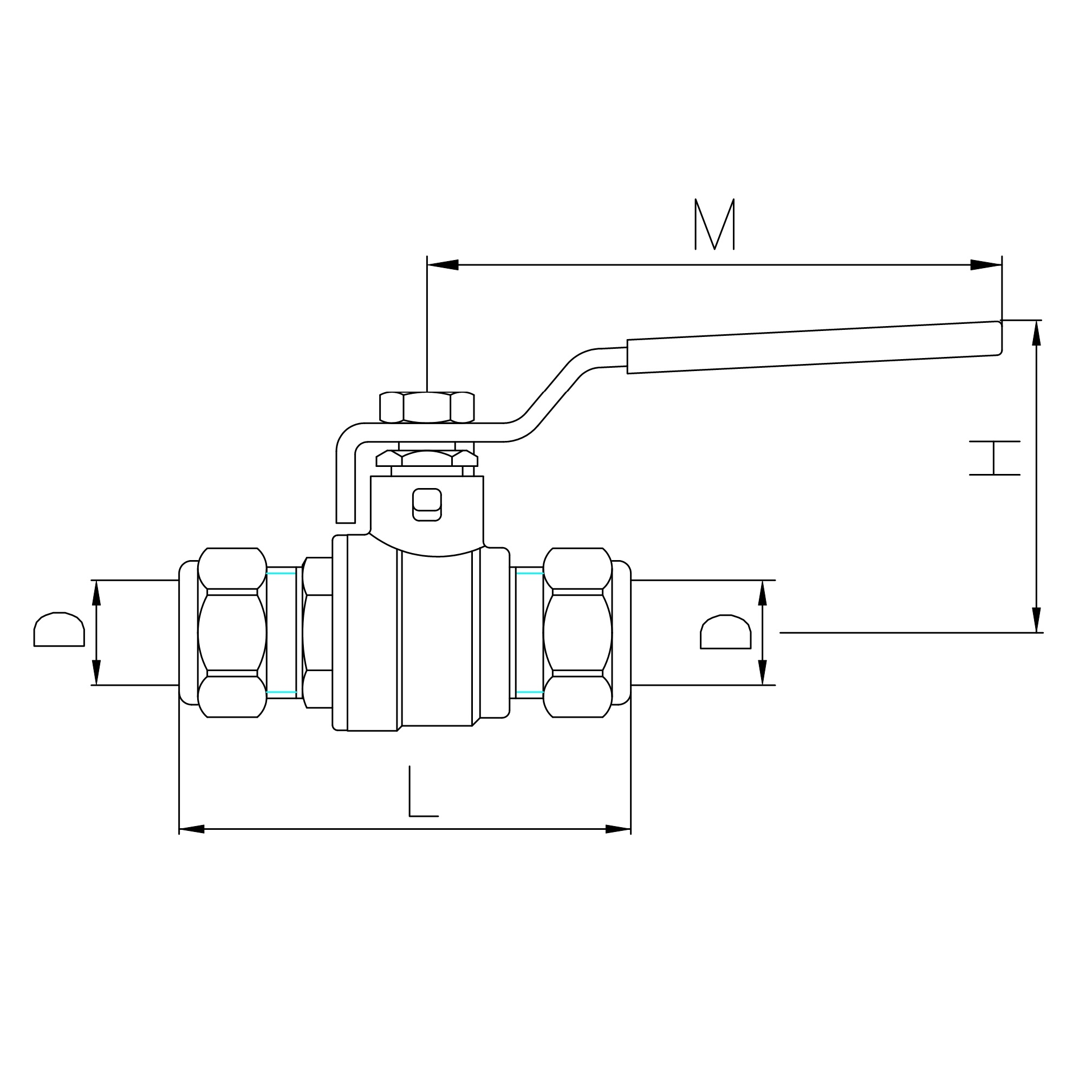 Datasheet - DZR brass ball valve copper to copper compression, iron lever handle