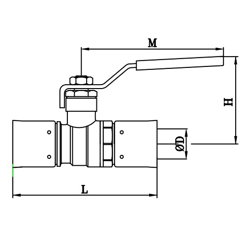 Datasheet - Press ball valve for multilayer pipe, iron lever handle