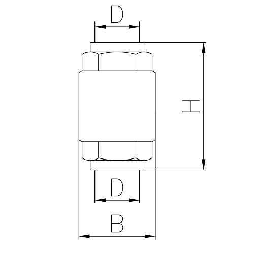 Datasheet - Brass check valve PN25, plate in stainless steel