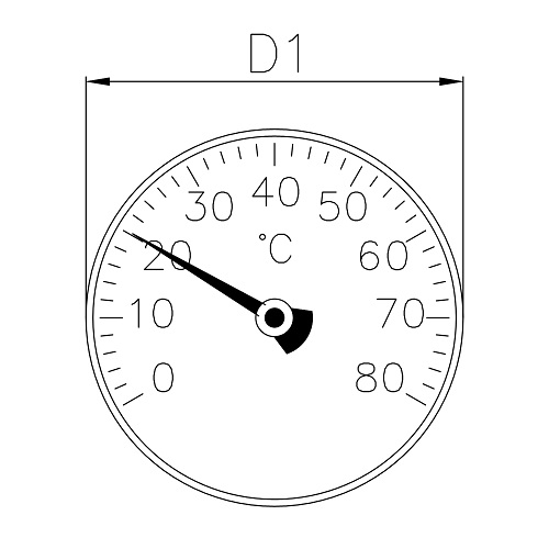 Datasheet - Bimetallic thermometer Ø 40mm. Scale: 0°- 80°C / 32°-170°F