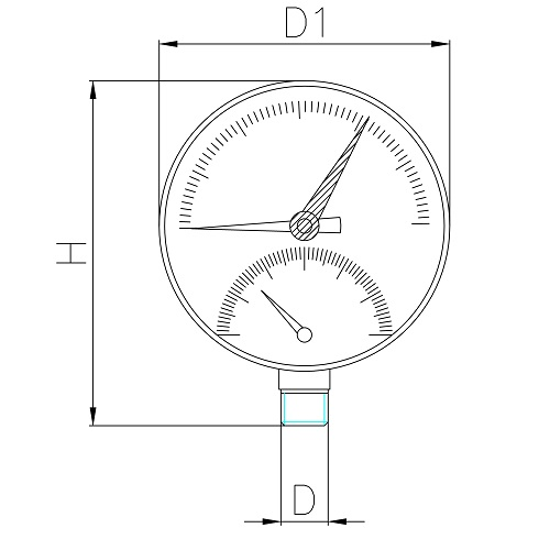 Datasheet - Thermomanometer back/vertical connection
