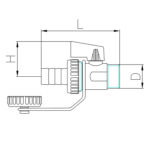 Datasheet - Drain ball valve for boiler with cap and hose connection