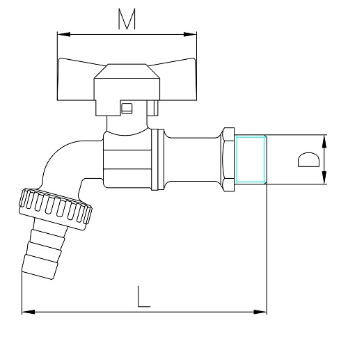 Datasheet - Heavy pattern ball bibcock with hose connection, butterfly handle
