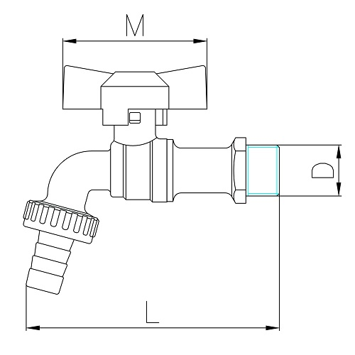 Datasheet - Ball bibcock with hose connection, butterfly handle