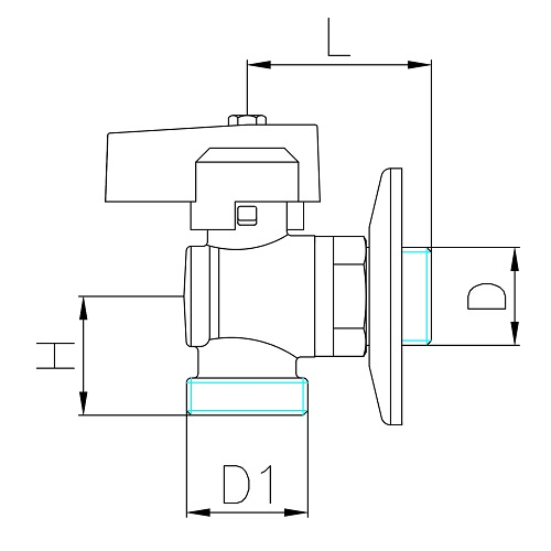 Datasheet - Angle ball valve for washing-machine with rosette