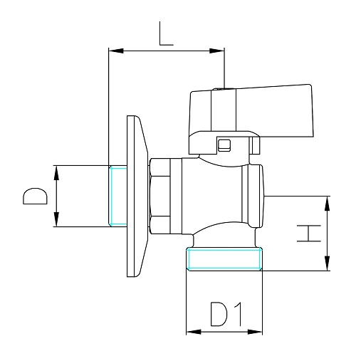 Datasheet - Angle ball valve for washingmachine with rosette, light pattern, nichel aluminium handle