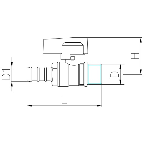Datasheet - Male connection gas ball valve with hose attachment