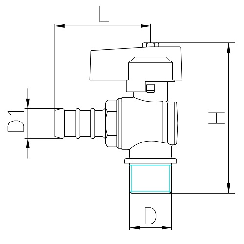 Datasheet - Male connection gas ball valve with hose attachment UNI 7141 standard