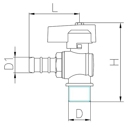 Datasheet - Male connection angle gas ball valve with hose attachment