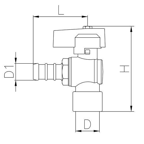 Scheda tecnica - Female connection angle gas ball valve with hose attachment UNI 7141 standard