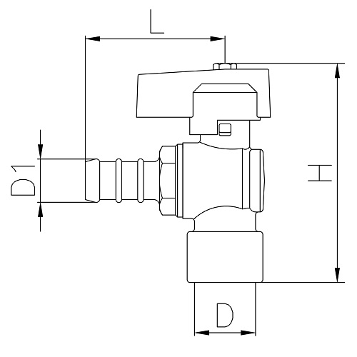 Datasheet - Female connection angle liquid gas ball valve with hose attachment