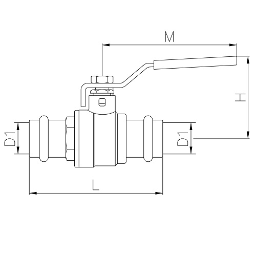 Datasheet - DZR Brass ball valve with press-fi t ends, iron lever handle