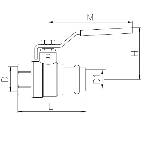 Scheda tecnica - DZR Brass ball valve with press-fi t end and female thread, iron lever handle