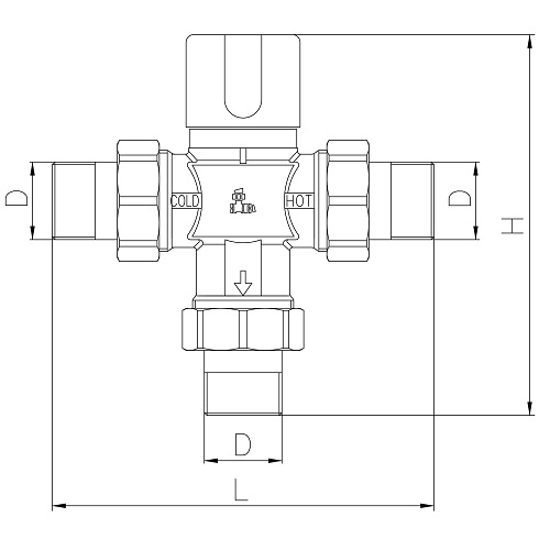 Datasheet - 3 ways thermostatic mixing valve with press ends