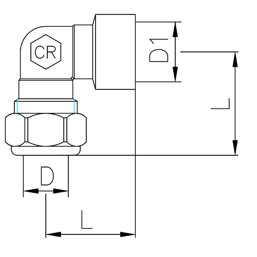 Datasheet - Angle coupling with nut, female connection, DZR brass