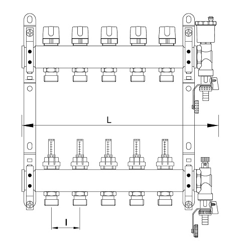 "Datasheet - FF stainless steel AISI 304L manifolds with 3/4"" male Euroconus outlets, with thermostatic screws and flow meters"