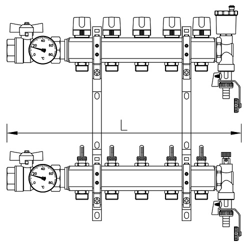 "Scheda tecnica - FF brass bar manifolds with 3/4"" male Euroconus outlets, with thermostatic screw and fl ow meters."