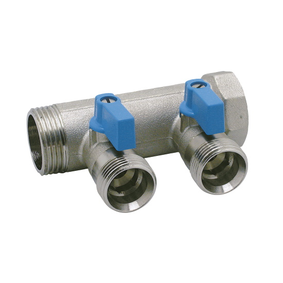 2 ways male manifold Euroconus with incorporated ball valve