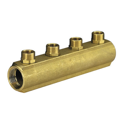 Brass bar manifold with 3/4 male outlets, type Euroconus