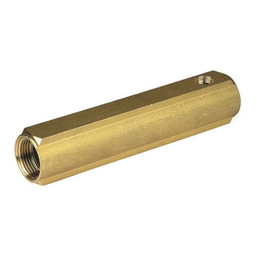 Manifold made of brass bar with 1/2 female outlets, interaxis 50mm, with drain hole of 3/8""