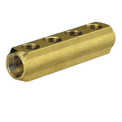 Brass bar manifold with 1/2 female outlets, interaxis 50mm