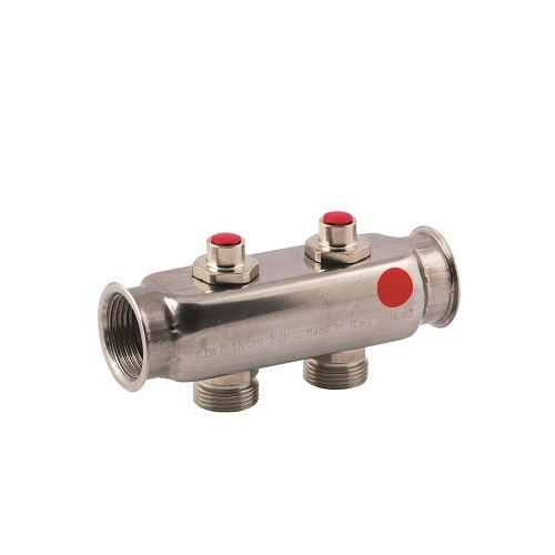 "FF stainless steel AISI 304L manifold with 3/4"" M Euroconus outlets and lockshield valves"
