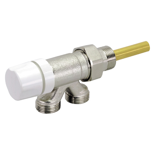 4 ways thermostatisable valve for monopipe systems with micrometric wheelhandle