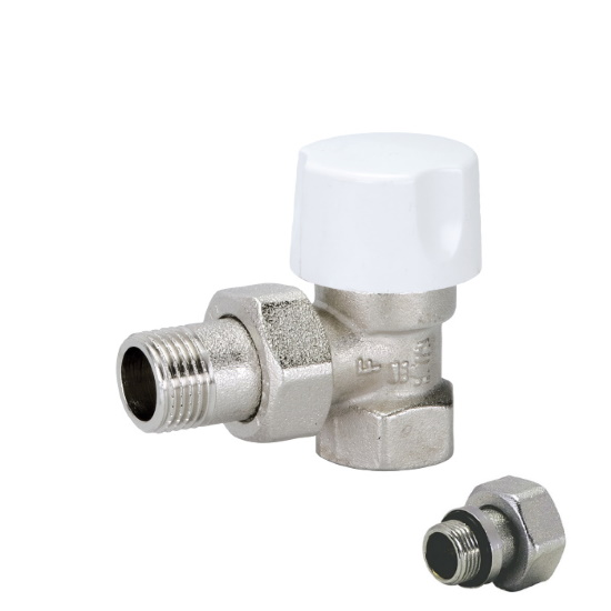 Angle thermostatic radiator valve for iron pipe