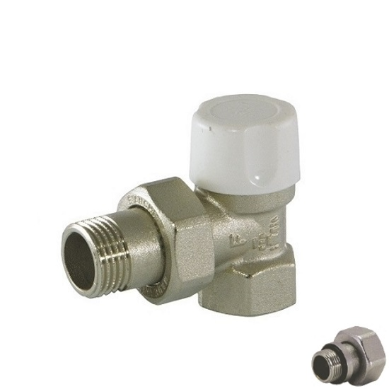 Angle lockshield-valve for iron pipe