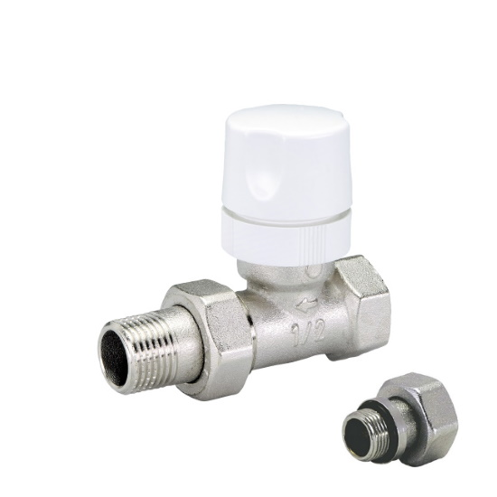 Straight thermostatic radiator valve iron pipe with handle