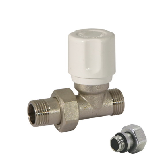 Straight radiator valve with wheelhandle, for copper, multilayer and Pex pipe