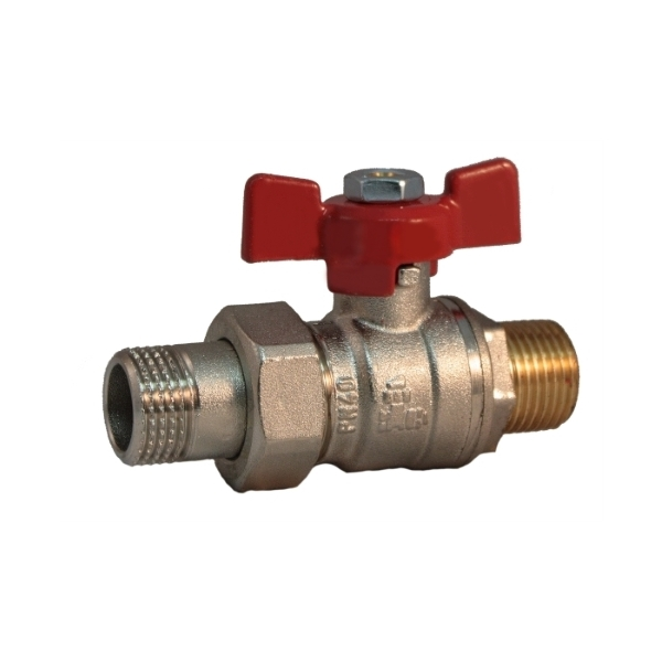 Pipe union, MM full bore ball valve PN 40 with butterfly handle