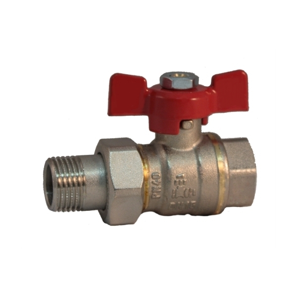 Pipe union, MF full bore ball valve PN 40 with butterfly handle