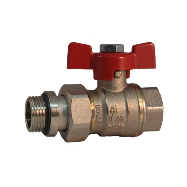 Pipe union and metal ring MF full bore ball valve PN 40 with butterfly handle