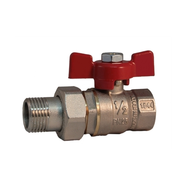 Pipe union MF ball valve PN 25 with butterfly handle