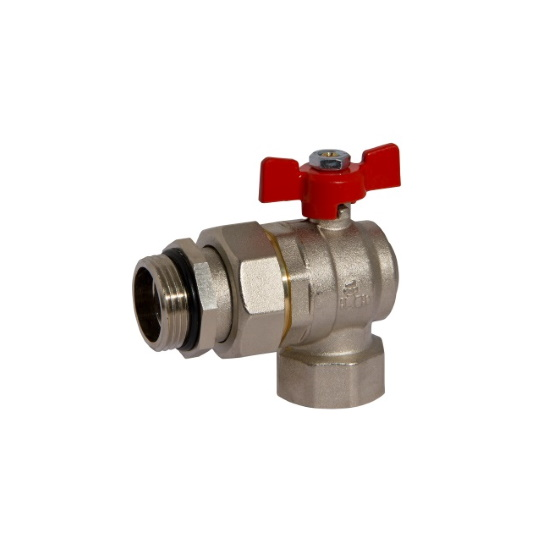 Angle MF ball valve PN25 with pipe union, butterfly handle