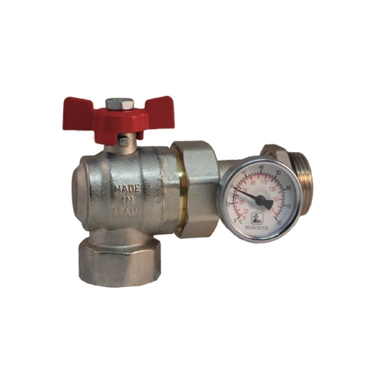 Angle ball valve MF PN25 with pipe union and O-ring, thermometer Ø 40mm, range 0 - 80°C, butterfly handle