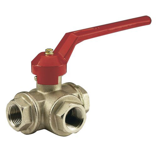 3 outlets female ball valve PN40, T-handle.