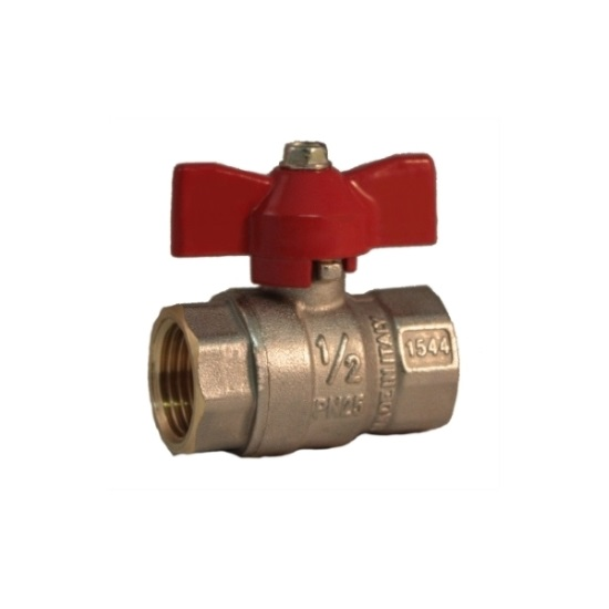 FF ball valve PN 25 with butterfly handle