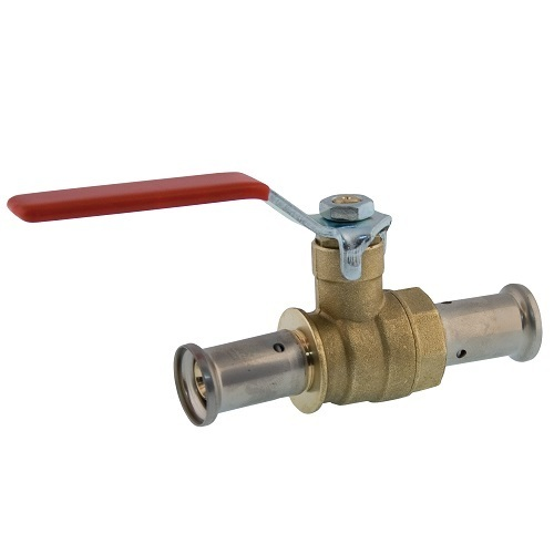 Press ball valve for multilayer pipe, iron lever handle