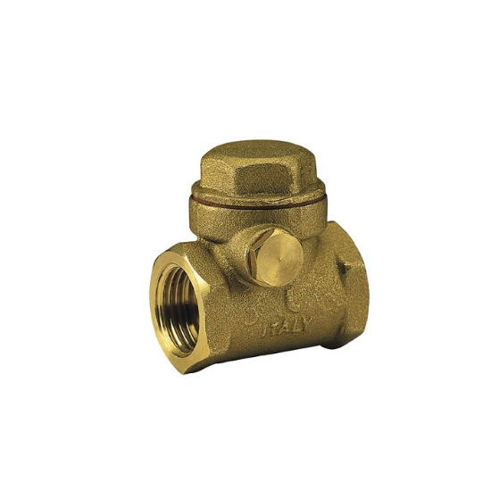 Swing check valve with plate in brass and NBR seat